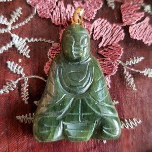 Vintage green stone Buddha pendant jade? Gold tone